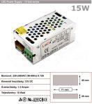 LED tápegység 12 Volt, ipari (1.2A/15W) LoCa 015
