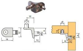 Polctartó ME04, 5 mm (90°), nikkel