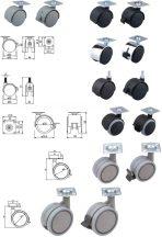 Kerék lemezzel vagy csappal, 50-75 mm, több kivitelben
