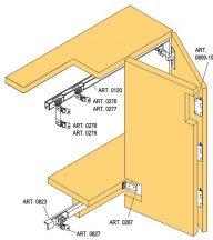 Sisco  Sistem harmónika ajtó vasalat szett, szekrény síkja előtt futó, több változatban