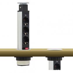 Kihúzható, rejtett elosztó, bútorlapba építhető, henger alakú, több kivitelben